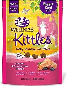 Wellness Natural Pet Food Kittles Grain-Free Salmon & Cranberries Recipe Crunchy Cat Treats, 6 Ounce Bag (90064)
