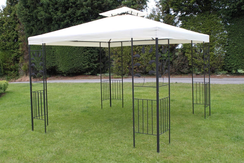 Tienda estilo pérgola o cenador 3M cuadrada con diseño de hojas, beis, y 4 cortinas de poliéster, estructura de acero resistente: Amazon.es: Jardín