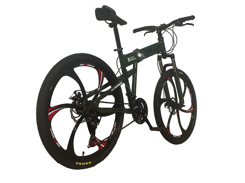 M-L Adultos Unisex Helliot Bikes Hummer 02 Bicicleta de monta/ña Plegable Verde Militar