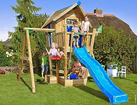 Jungle Gym Crazy Playhouse 1-Swing Azul Casitas Infantiles de Madera para Jardin con Tobogan y Columpio: Amazon.es: Juguetes y juegos