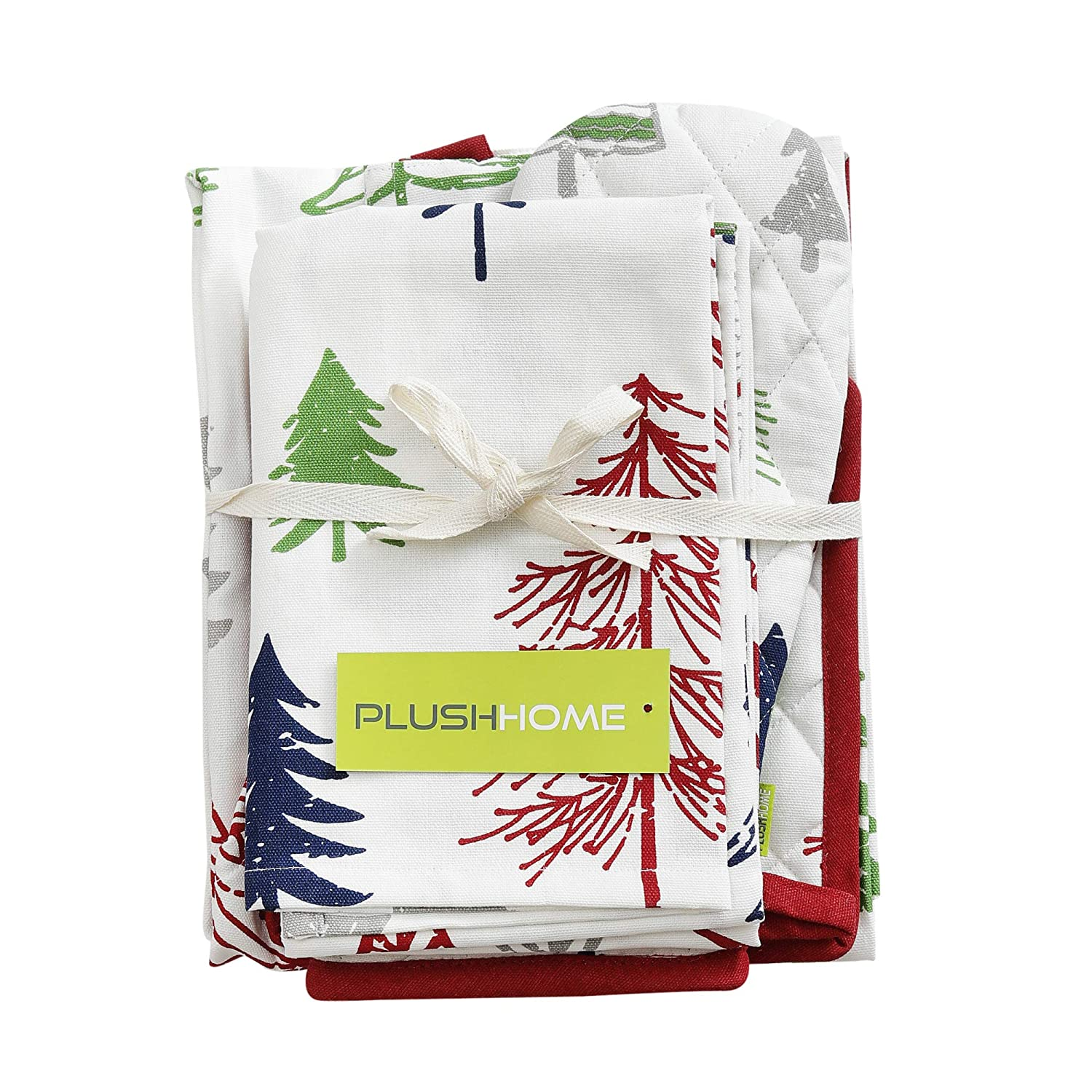Potholder /& a Pair of Kitchen towel Kitchen combo Set-Christmas Forest design 100/% Cotton Thanks Giving Best for Gifting Oven Mitten Set of Kitchen Apron Christmas /& other festive Season