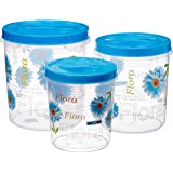 Nayasa Store-in Plastic Container, 3-Pieces, Blue
