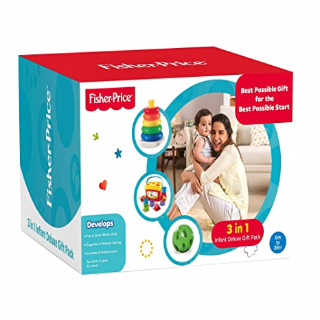 b4abf2634bb Buy Fisher Price 3 in 1 Infant Deluxe Gift Pack Online at Low Prices in  India - Amazon.in