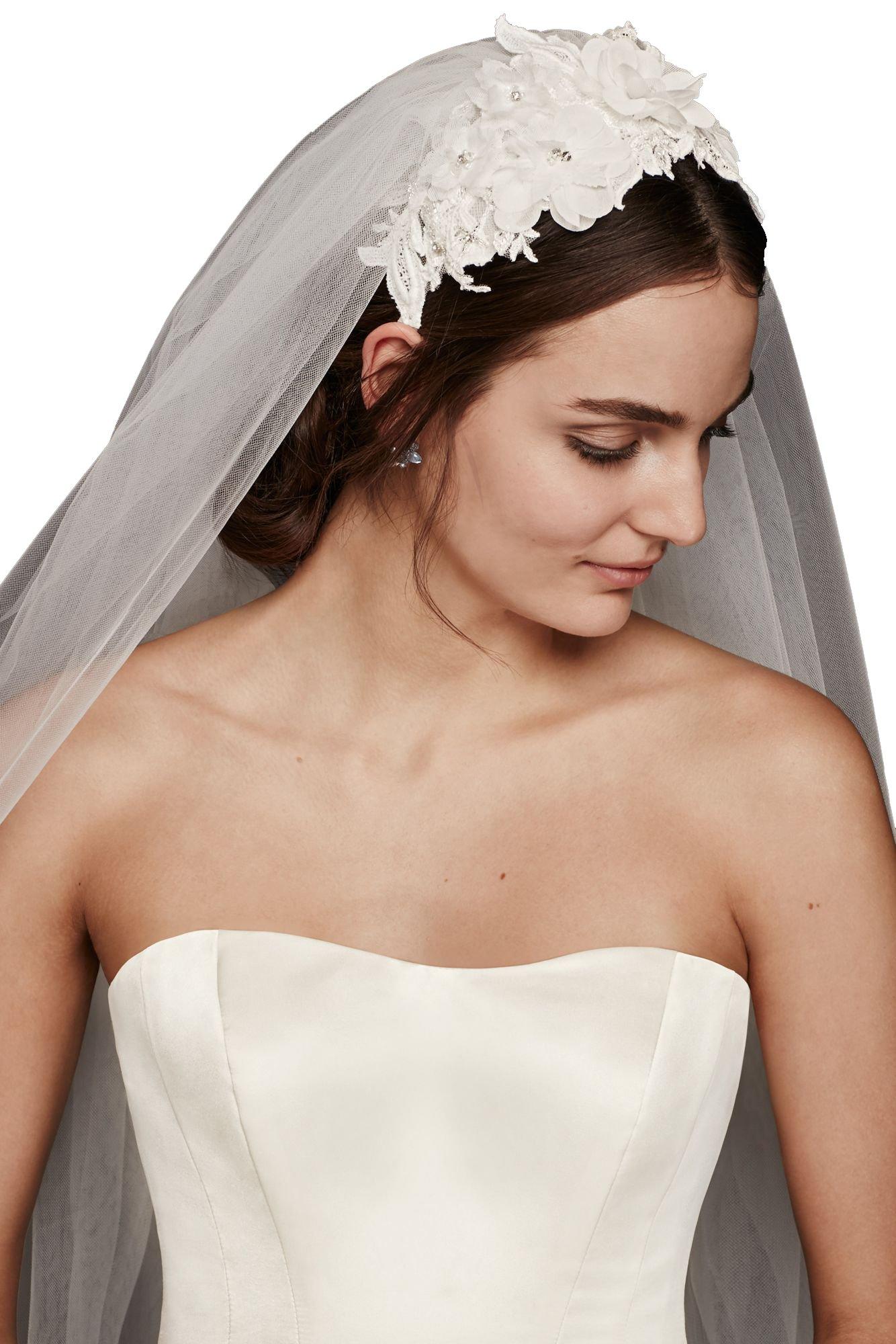 Passat Diamond White Single-Tier 3M 3D Flowers Wedding Veil with Embellished Headband DB35