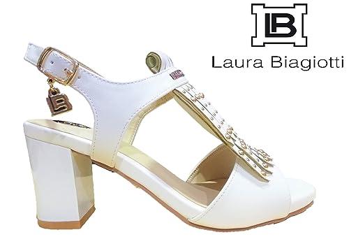 Laura Biagiotti Scarpe Donna Sandali Cinturino Tacco Alto Pelle Bianco -  647 (35 EU) aa1e6d52555
