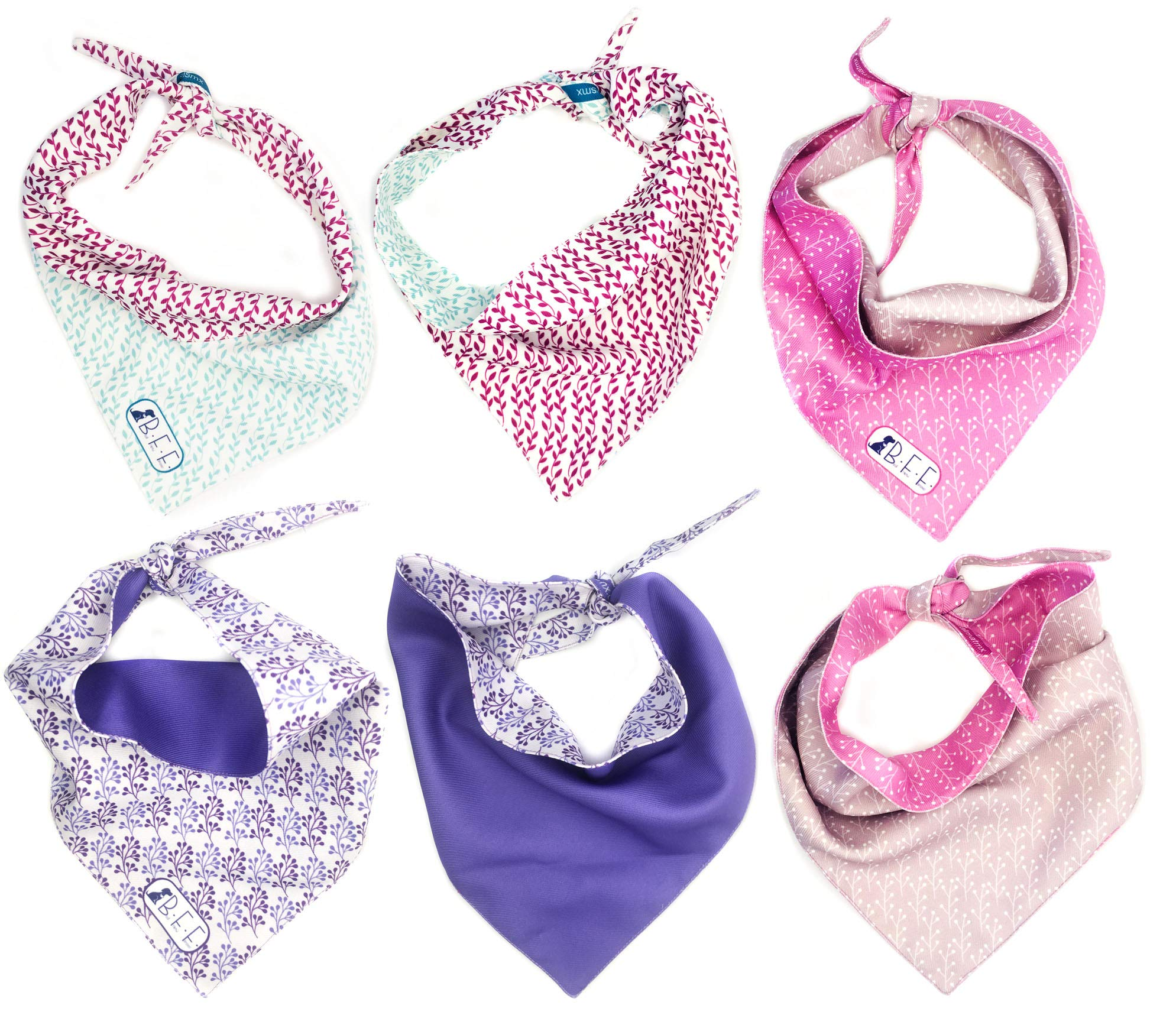 B&F 3 Pack Reversible Dog Bandana 3 Pieces - 6 Looks, Machine Washable Handmade pet Accessories. Scarves for Small, Medium,and Large Dogs. Mod. River