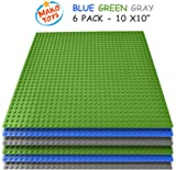 """Building Base Plates- Compatible Baseplates (6 pieces of 10"""" x 10"""") in Blue, Green and Gray, Works with Major Brick Building Sets, Wonderful Plate for Kids (Blue/Green/Gray)"""