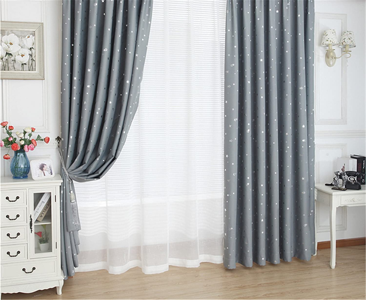 Home Concise Style Ring Top Eyelet Ready Made Curtains Blackout Star ...
