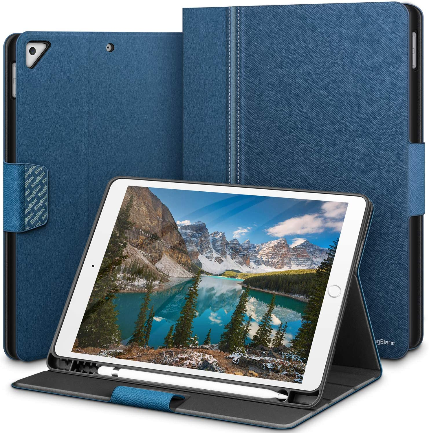 KingBlanc iPad 8th Generation 2020 /7th Generation 2019 Case, iPad 10.2 Case with Pencil Holder, Auto Sleep/Wake, Multi-Angle Viewing, Vegan Leather Folio Smart Cover for Apple iPad 10.2 inch, Blue