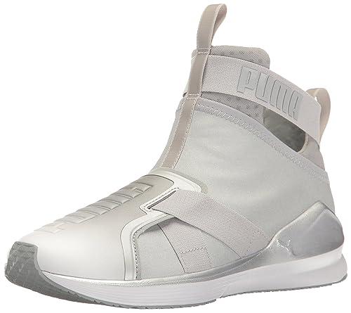 PUMA Women s Fierce Strap Metallic WN s Cross-Trainer Shoe, Silver White,  ... d00c49c4c19