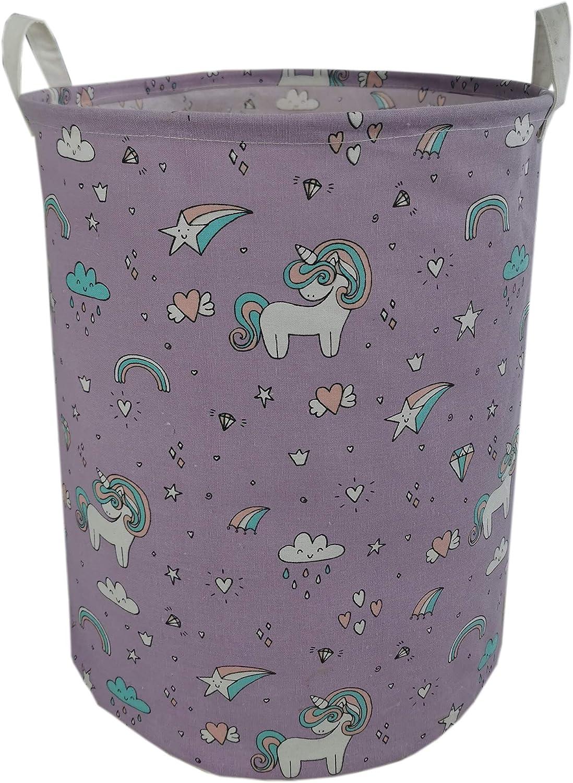Purple Unicorn INSLIKE Large Storage Bin Waterproof Laundry Hamper Organizer Basket Kid Hamper for Cloth Baby Nursery Toys