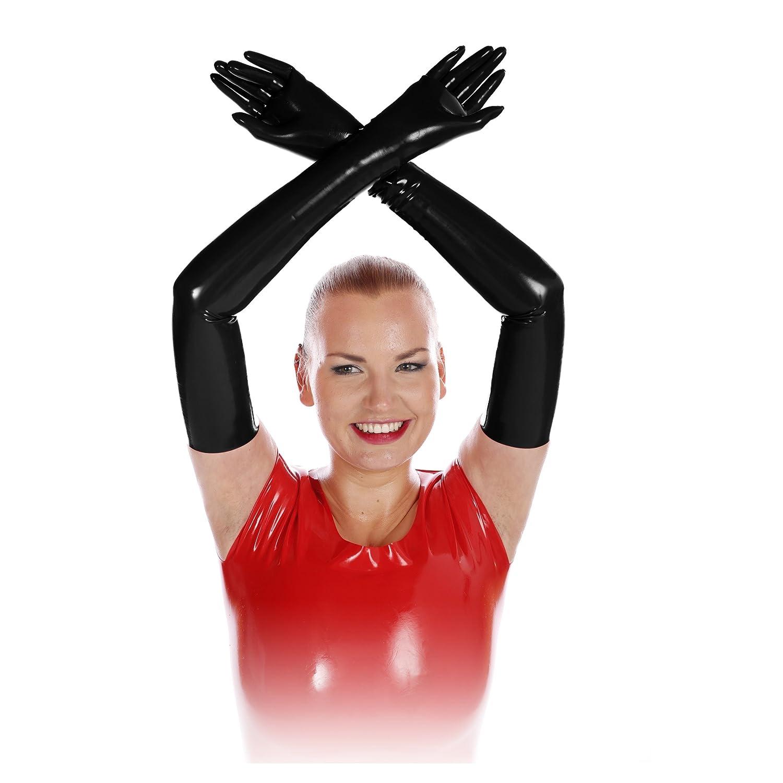Rubberfashion sehr lange Latex Handschuhe Latexhandschuhe bis zum Oberarm mit veredelter Oberfl/äche nicht chloriert f/ür Frauen und Herren 1 Paar