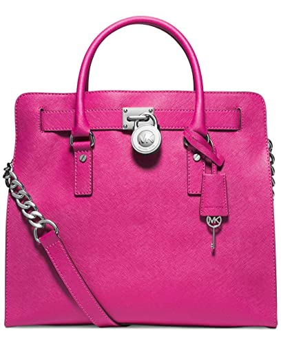 b02ea6cf2af0b Amazon.com  MICHAEL Michael Kors Hamilton Large North South Tote Raspberry  Silver  Shoes