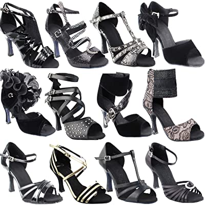 "50 Shades Of Black Dance Shoes Collection I, Comfort Evening Dress Wedding Pumps: Women Ballroom Dance Shoes For Latin, Tango, Salsa, Swing, Theater Art by Party Party (2.5"" & 3"" Heels)"