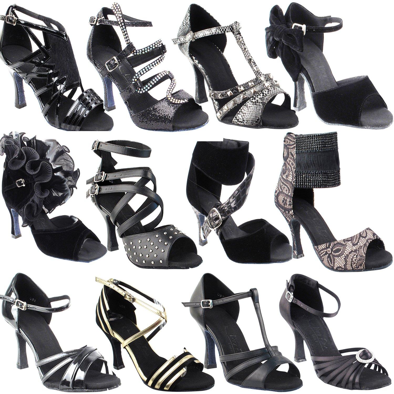 Black Ballroom Latin Dance Shoes for Women: SERA1311 Black Satin, 3'' Heel, Size 7 1/2 by Gold Pigeon Shoes