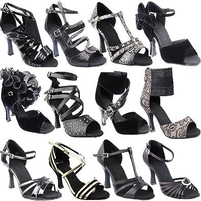 67c76da905eb2 50 Shades Black Ballroom Salsa Latin Dance Shoes for Women