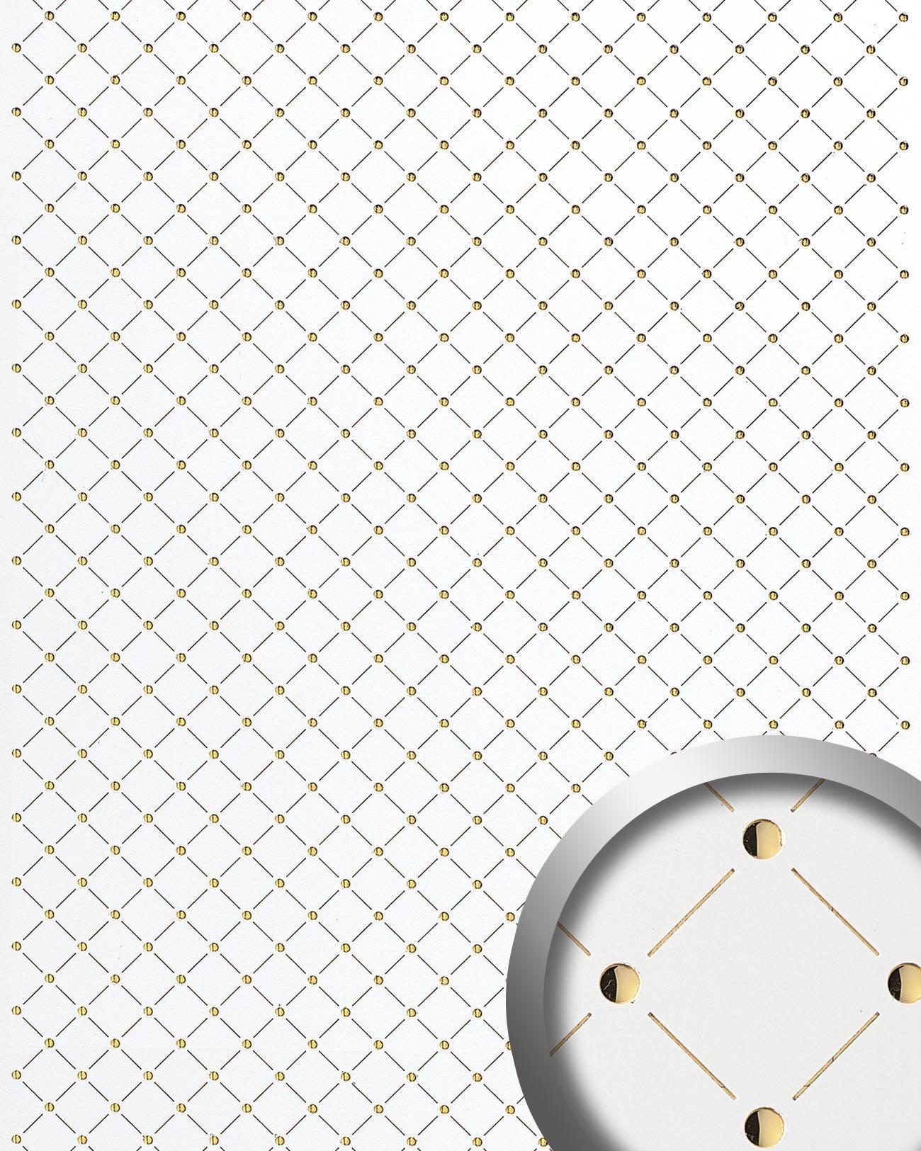 WallFace 17856 3D Wall panel self-adhesive Mosaic decor Luxury wallcovering self-adhesive pearlwhite gold | 2,60 sqm by Wallface (Image #1)
