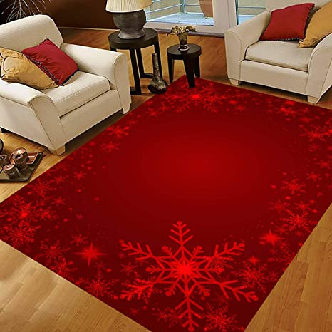 Christmas Area Rugs 5x4 Snowflake Area Rugs For Living Room Bedroom Large Area Rugs Christmas Red Snowflakes Kitchen Dining