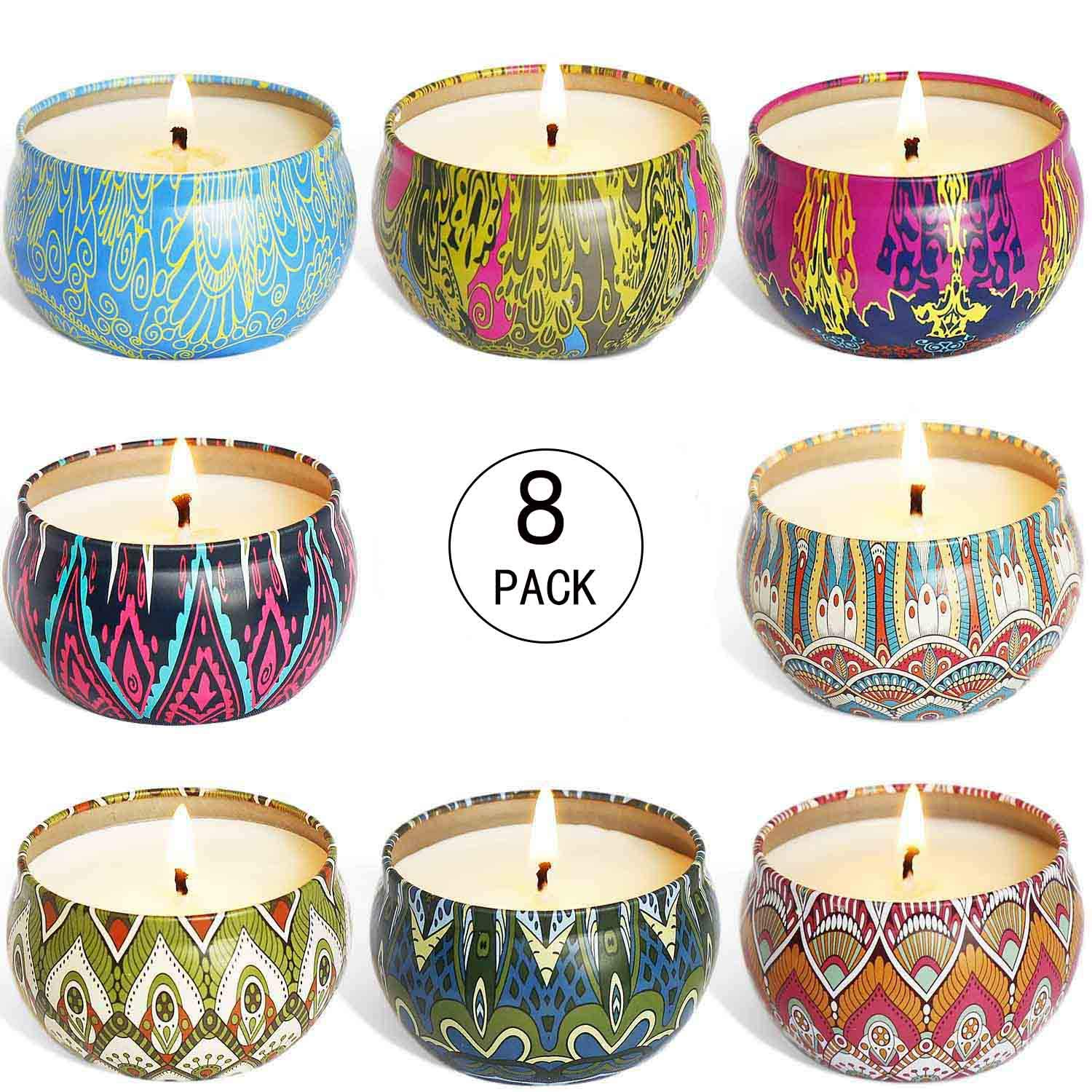 YIIA Fruity Scented Candles Gift Set, Natural Soy Wax Travel Tin Candle Stress Relief Aromatherapy with Sweet Odor 8-Pack(Lemon, Fig, Lavender, Spring Fresh,Rose ,Jasmine,Vanilla,Bergamot) by YIIA