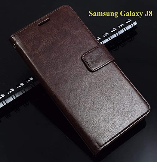 timeless design c3233 0f4ed Thinkzy SA63LE3 Flip Cover Case for Samsung Galaxy J8 (Coffee Brown)