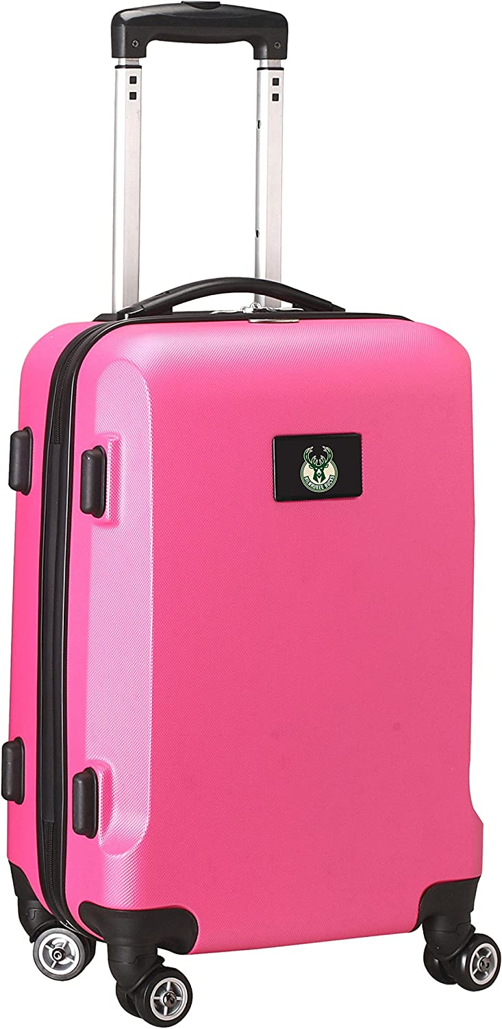 Denco NBA Milwaukee Bucks Carry-On Hardcase Luggage Spinner, Pink