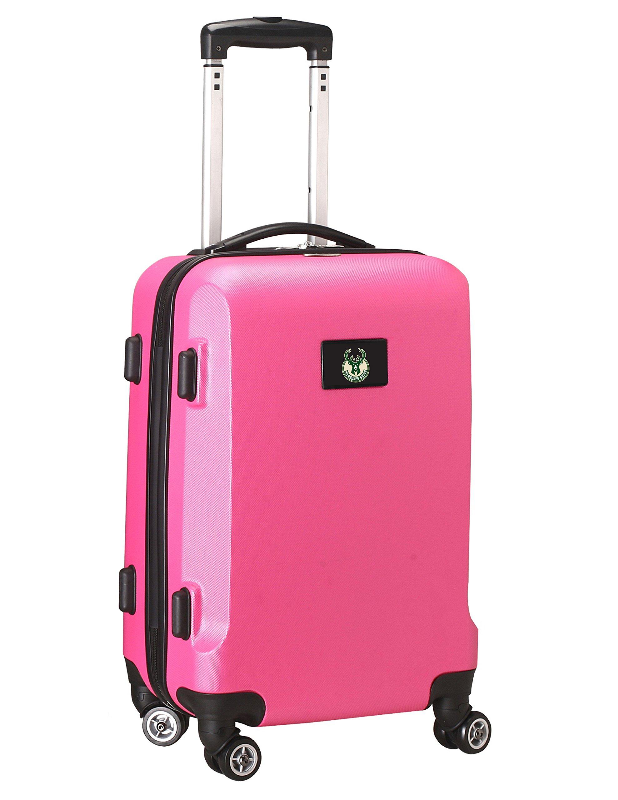Denco NBA Milwaukee Bucks Carry-On Hardcase Luggage Spinner, Pink
