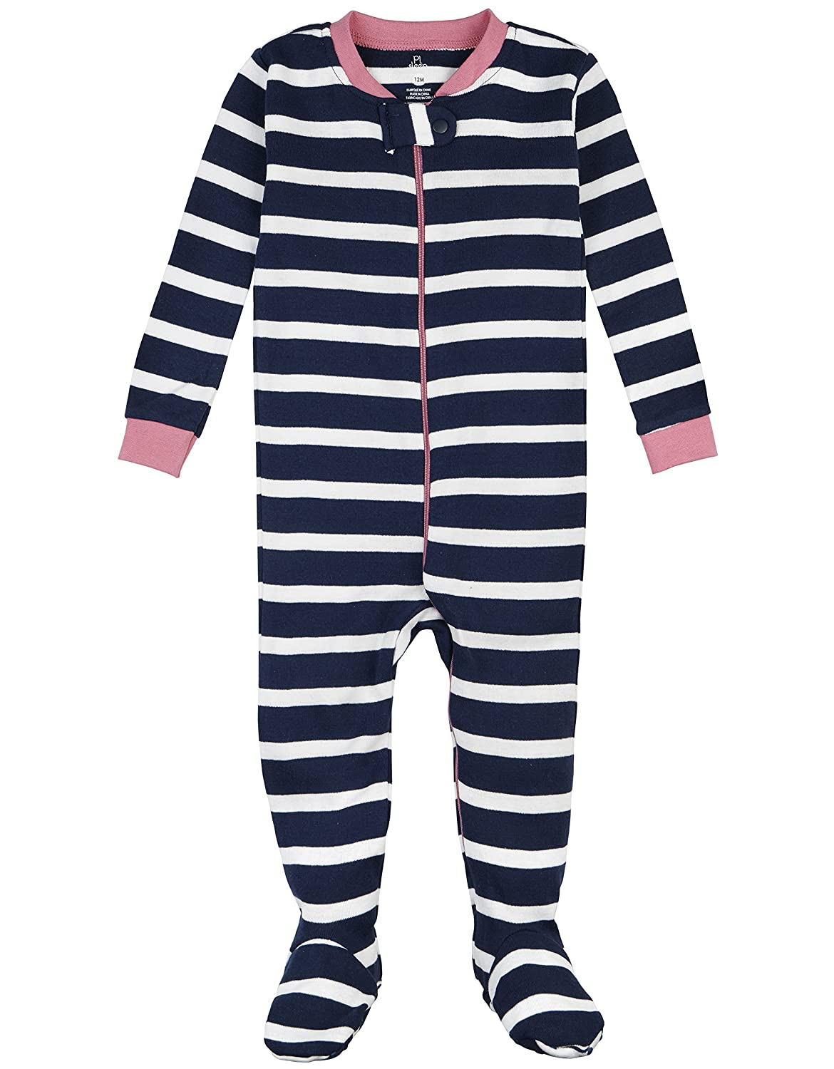 Petit Lem Girls' Midnight Stripe 1 Piece Footie Pajama 16FF09DU01