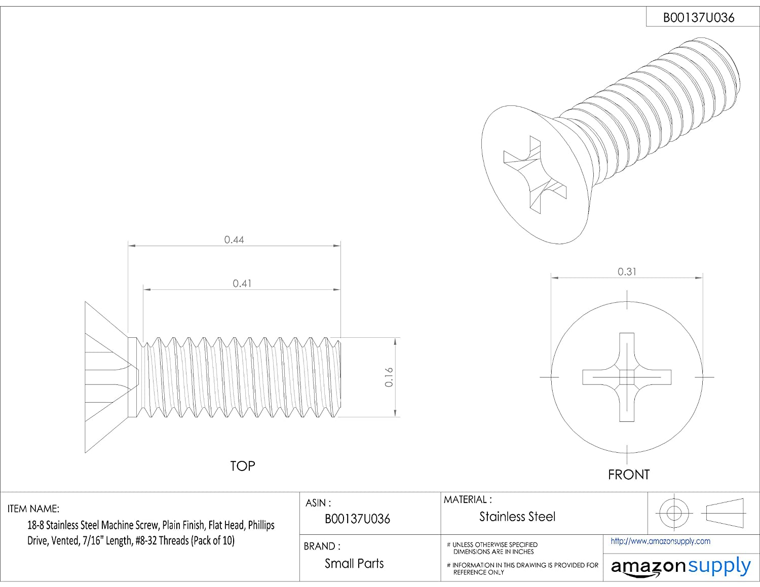 Pack of 10 #8-32 Threads Flat Head 7//16 Length Phillips Drive Plain Finish 18-8 Stainless Steel Machine Screw Vented