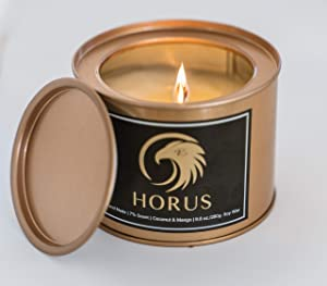 Horus Scented Candle Hand Poured with Wooden Wick in a Box, 100% Natura Vegan, 9.8 Ounce 280 Grams Soy Wax in a Tin Jar, Stress Relief & Relaxing Highely Scented Aroma with Coconut & Mango Fragrance