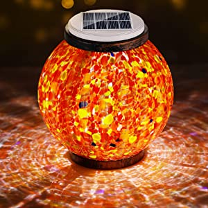 Pandawill Mosaic Solar Garden Light, Rechargeable Outdoor Hanging Light Metal Decorative Ball Light, Waterproof LED Table Lamp Waterproof Night Light for Patio, Countryyard, Bedroom Party