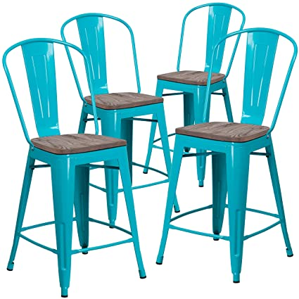 Peachy Flash Furniture 4 Pk 24 High Crystal Teal Blue Metal Counter Height Stool With Back And Wood Seat Creativecarmelina Interior Chair Design Creativecarmelinacom