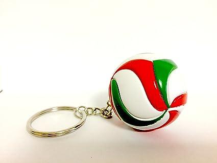 Bkstuff Llavero Voleibol Bola Verde Blanco y Rojo gadged Equipo Deportivo