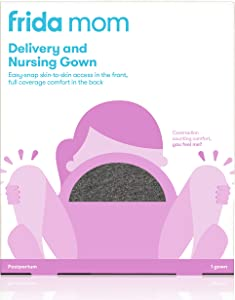 Labor and Delivery Gown by Frida Mom  Easy-Snap, Tagless, Skin-to-Skin Access for Nursing and Full Coverage in The Back