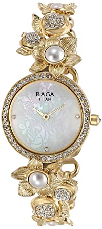 Titan Raga Aurora Analog White Dial Women's Watch-95043YM01 Women at amazon