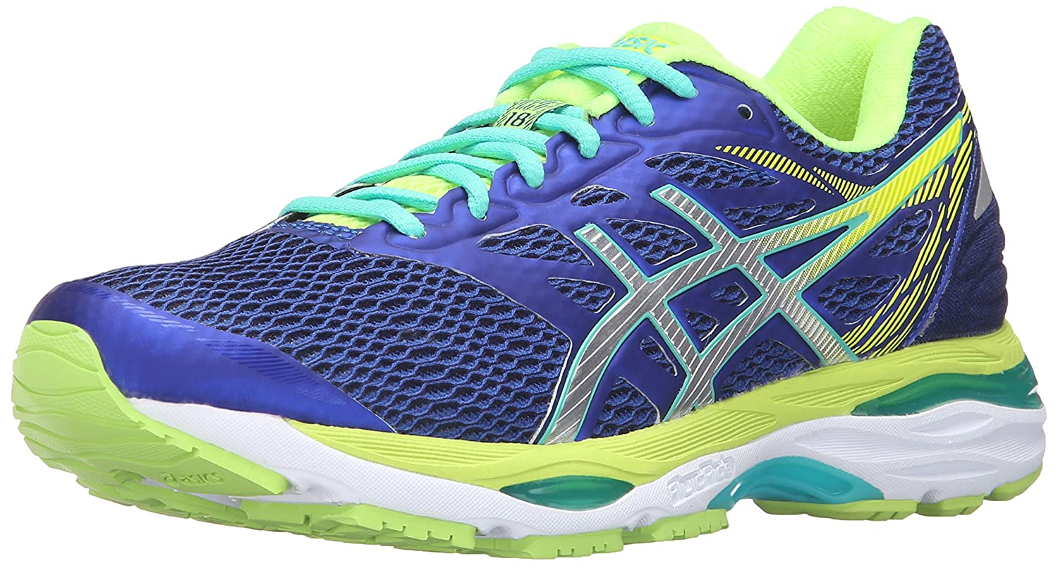 ASICS Women's Gel-Cumulus 18 Running Shoe B017USM4YY 13 B(M) US|Asics Blue/Silver/Safety Yellow