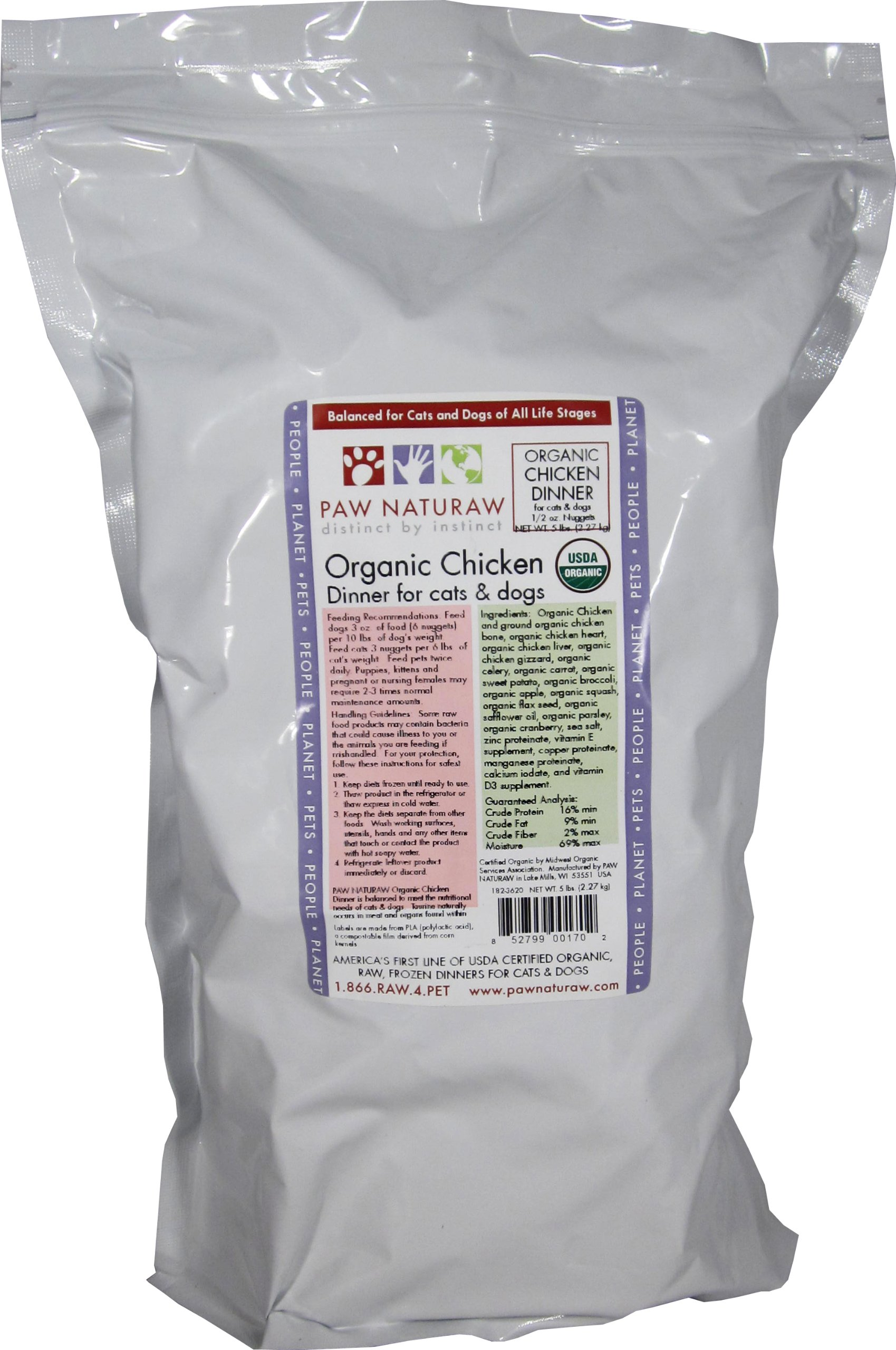 PAW NATURAW distinct by instinct Paw Naturaw Organic Chicken Dinner for Cats and Dogs, nuggets, 80-Ounce Bag