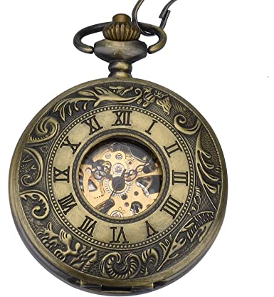 Reloj de Bolsillo para Hombre Zeiger Steampunk Reloj Mecánico Esqueleto Relojes Hombres Reloj de Bolsillo Retro Colgante W350 Bronce: Amazon.es: Relojes