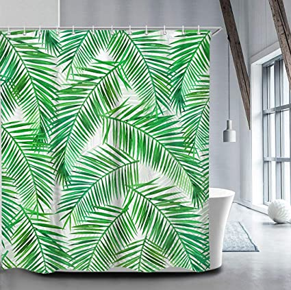 Image Unavailable Not Available For Color LIVILAN Exotic Tropical Plant Green Leaves Shower Curtain