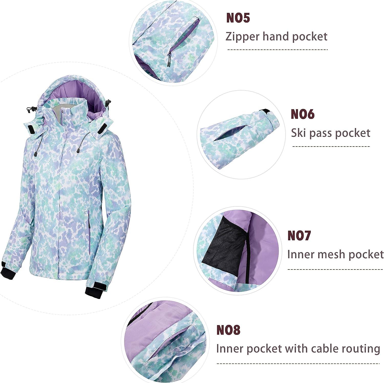 Wantdo Chaqueta de Esqu/í con Estampado Abrigo C/álido Antiviento para Mujer Chaqueta de Monta/ña Chaqueta de Snowboard Impermeable Capucha Abrigo de Invierno para Exteriores Mujer