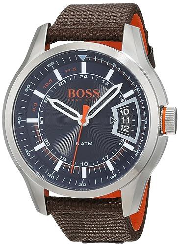 fc8bfdbe454 Hugo Boss Orange Hong Kong Mens Quartz Analogue Classic Brown Rubber Strap  1550002  Amazon.co.uk  Watches