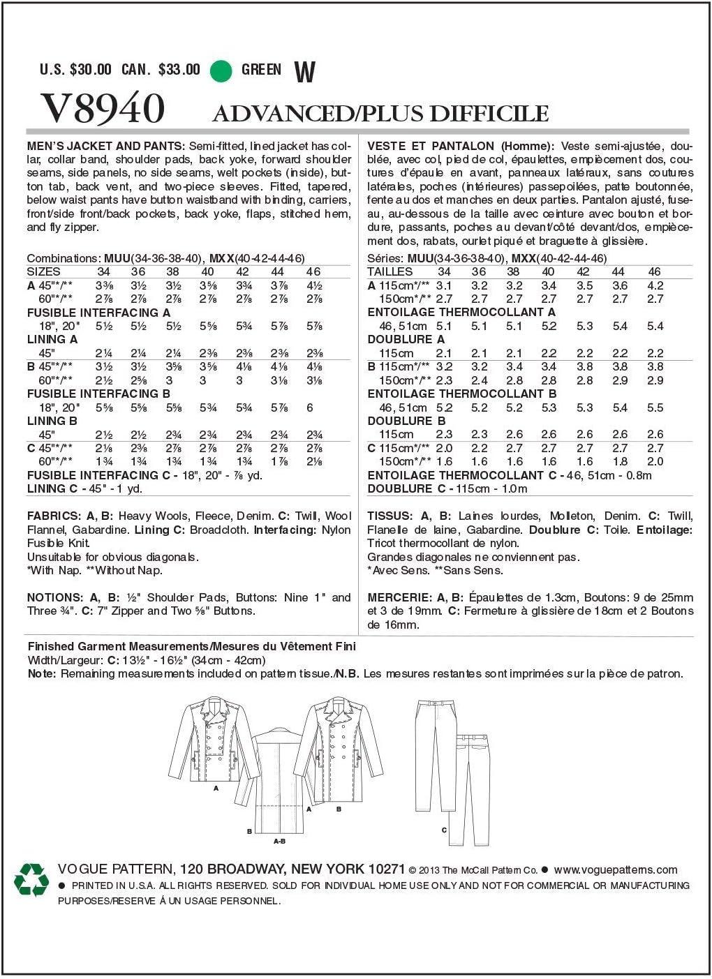 Patrón de costura de Moda para Hombre Abrigo Chaqueta 8940 /& Trouser Pantalones Vogue - 8940-M