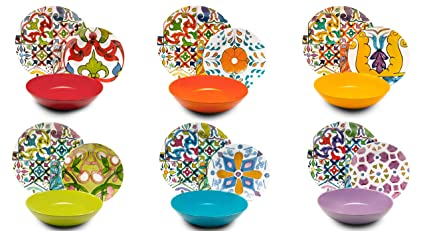 Excelsa Lisbona Servizio Piatti 18 Pezzi, Porcellana e Ceramica, Multicolore