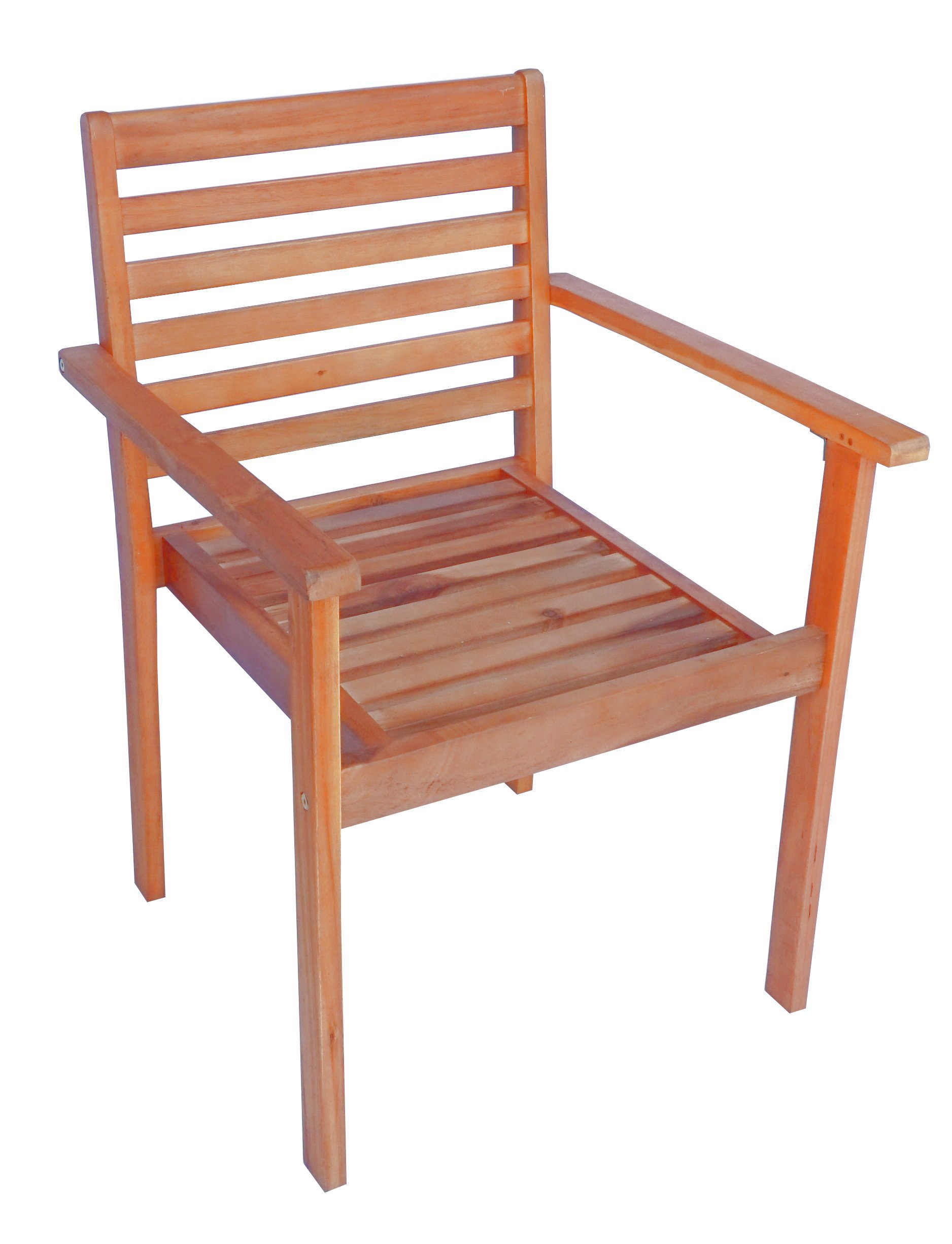 Zen Garden Eucalyptus Stackable Patio Outdoor Arm Chair, 23.25'' x 23.25'' x 34'', Teak Wood Finish, Teak Yellow