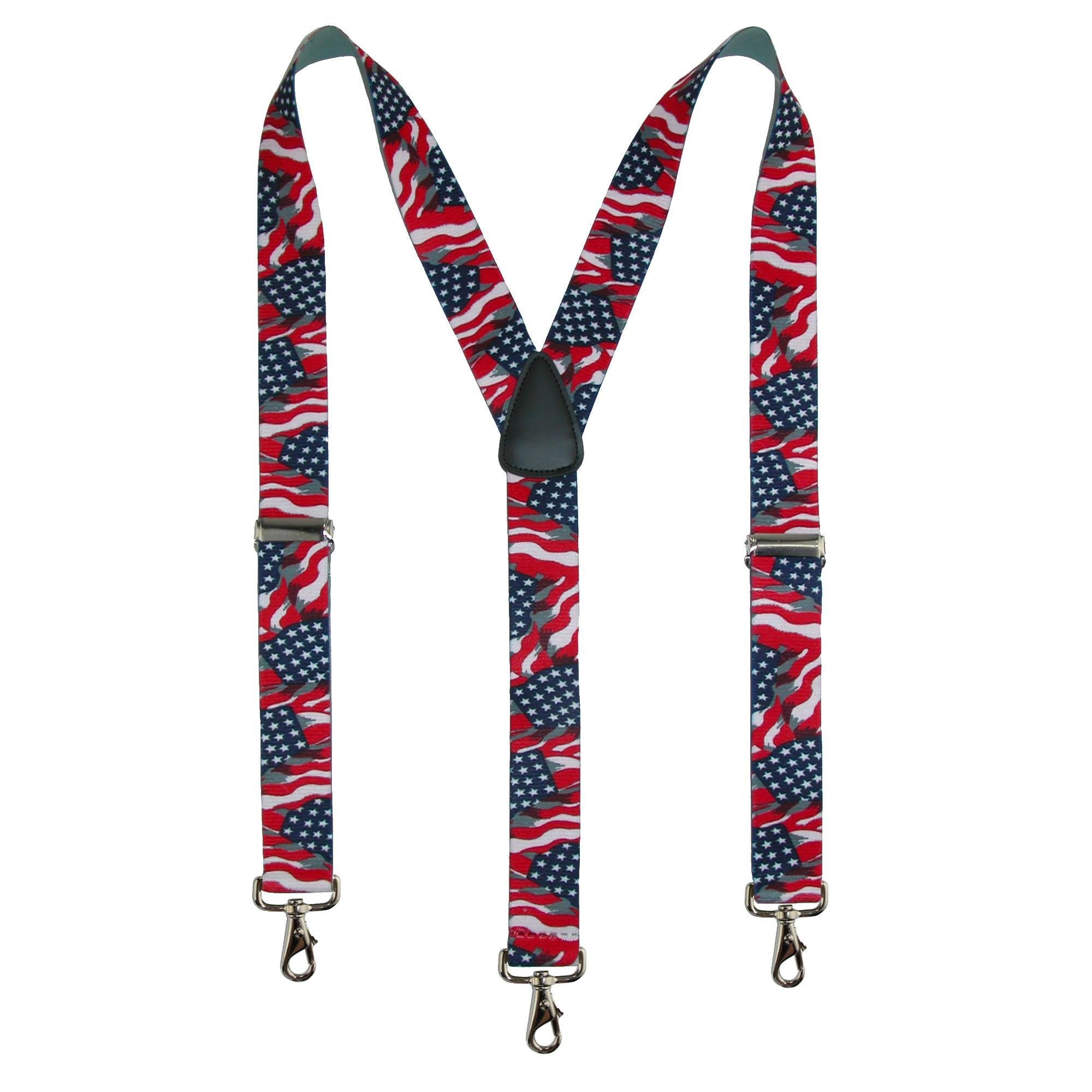 CTM Men's Big & Tall Elastic American Flag Suspender with Hook Ends
