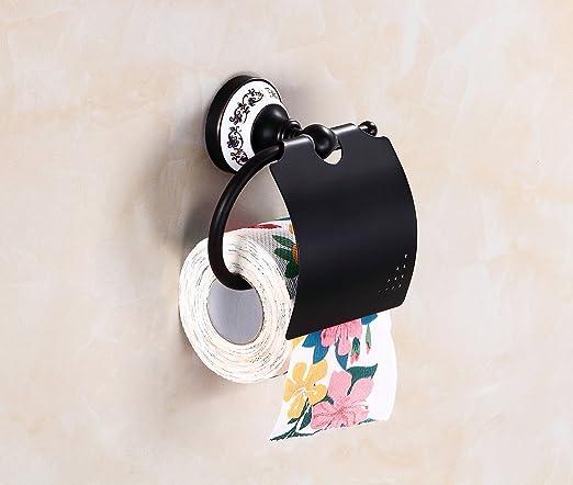HYSENM Support Papier Toilette Anti Poussi/ère R/étro Classique Antique Bronze Porcelaine Porte-Rouleau WC bronz/é