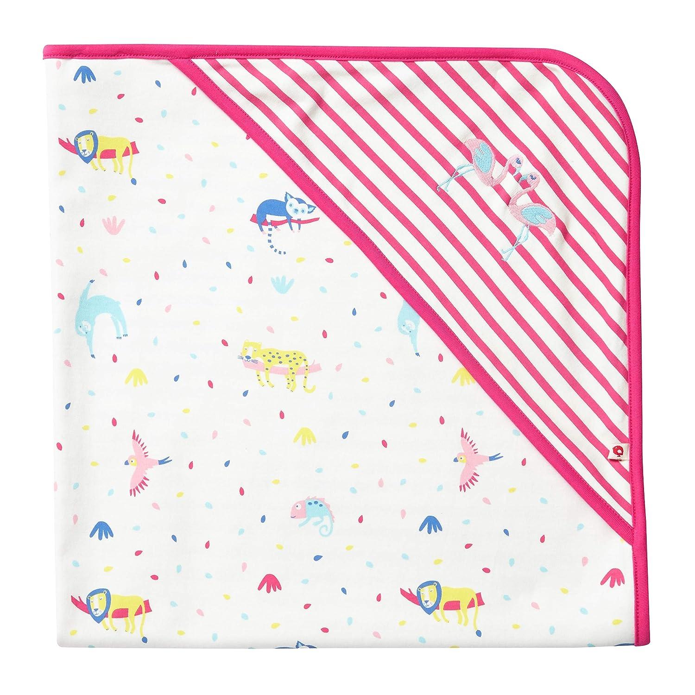 Piccalilly Couverture /à capuche pour b/éb/é fille Coton Bio Ray/é Rose Tropical 75 x 75 cm