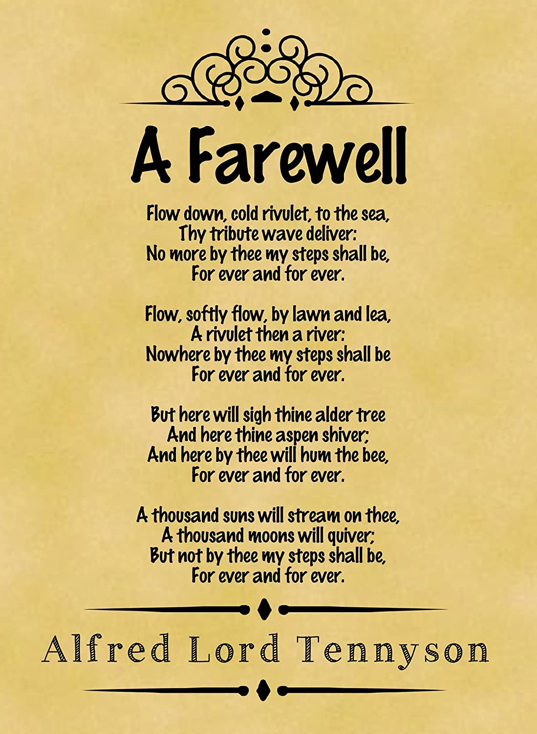 amazon com parchment style card greetings card cm x cm amazon com parchment style card greetings card 14cm x 10cm classic poem alfred lord tennyson a farewell home kitchen