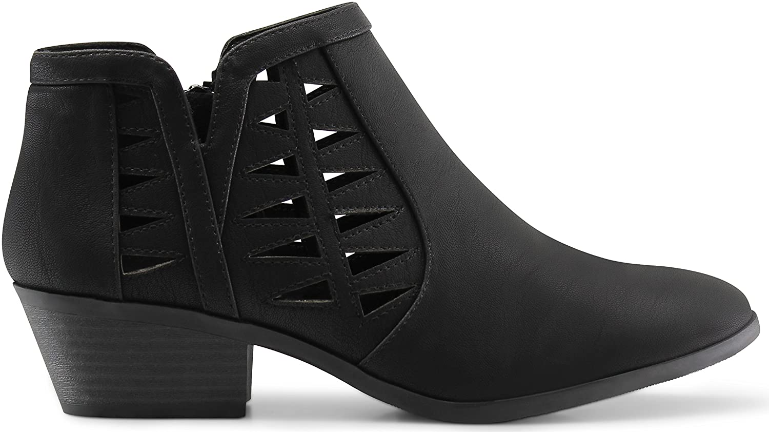 Marco Republic Oslo Womens Perforated Cutout Chunky Block Stacked Heels Ankle Booties Boots