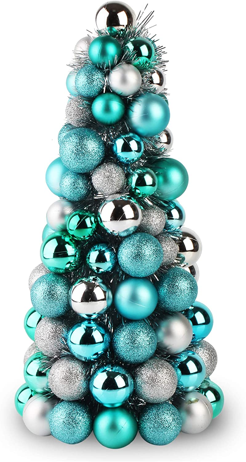 Costyleen 16 Inch Christmas Ball Tree Fireplace Table Decoration Home Party Decorative Ball Ornaments Xmas Tree Decors Multi-Color Blue Silver