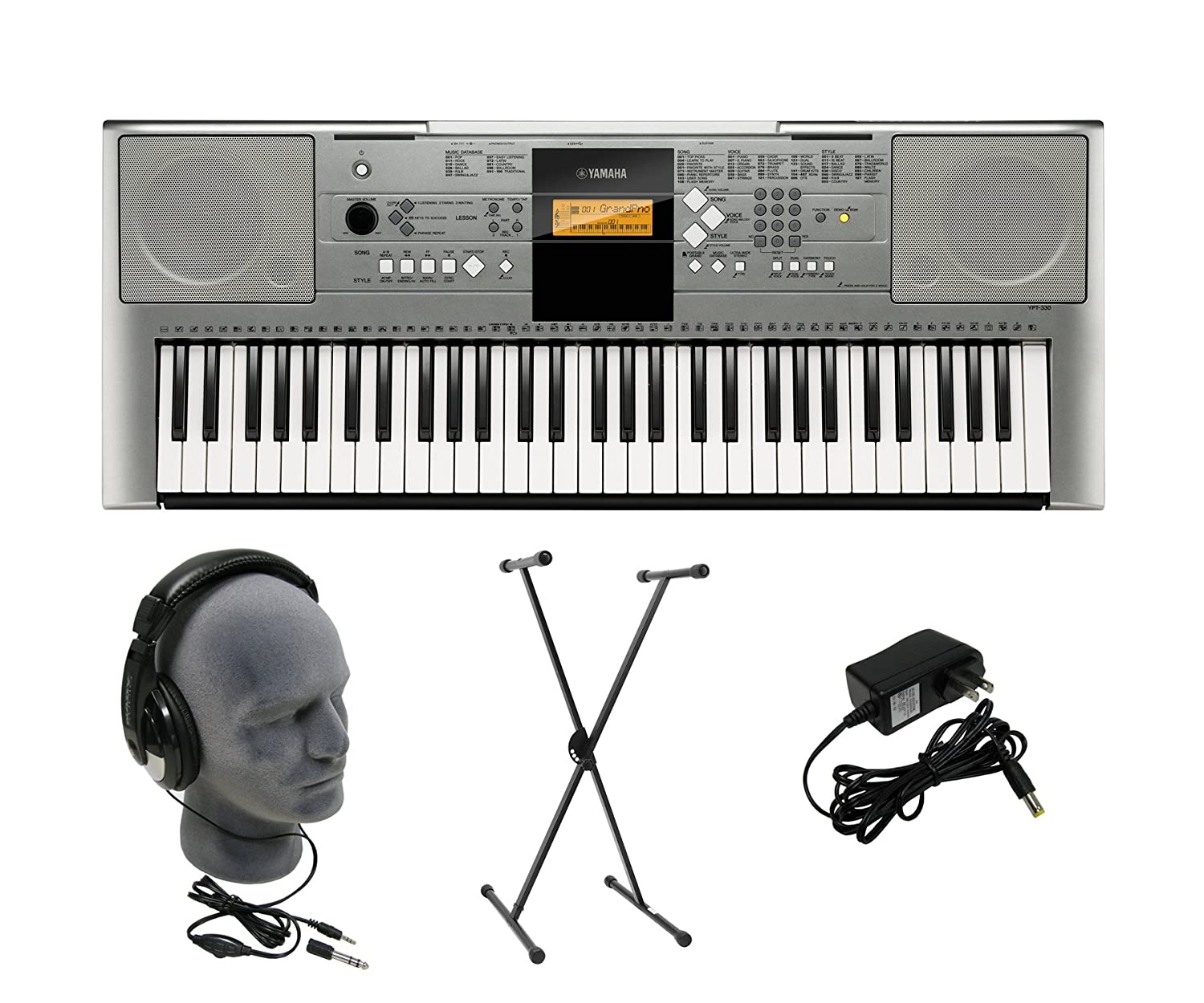 Amazon.com: Yamaha YPT-330 Premium Keyboard Pack with Headphones, Power Supply, and Stand: Musical Instruments